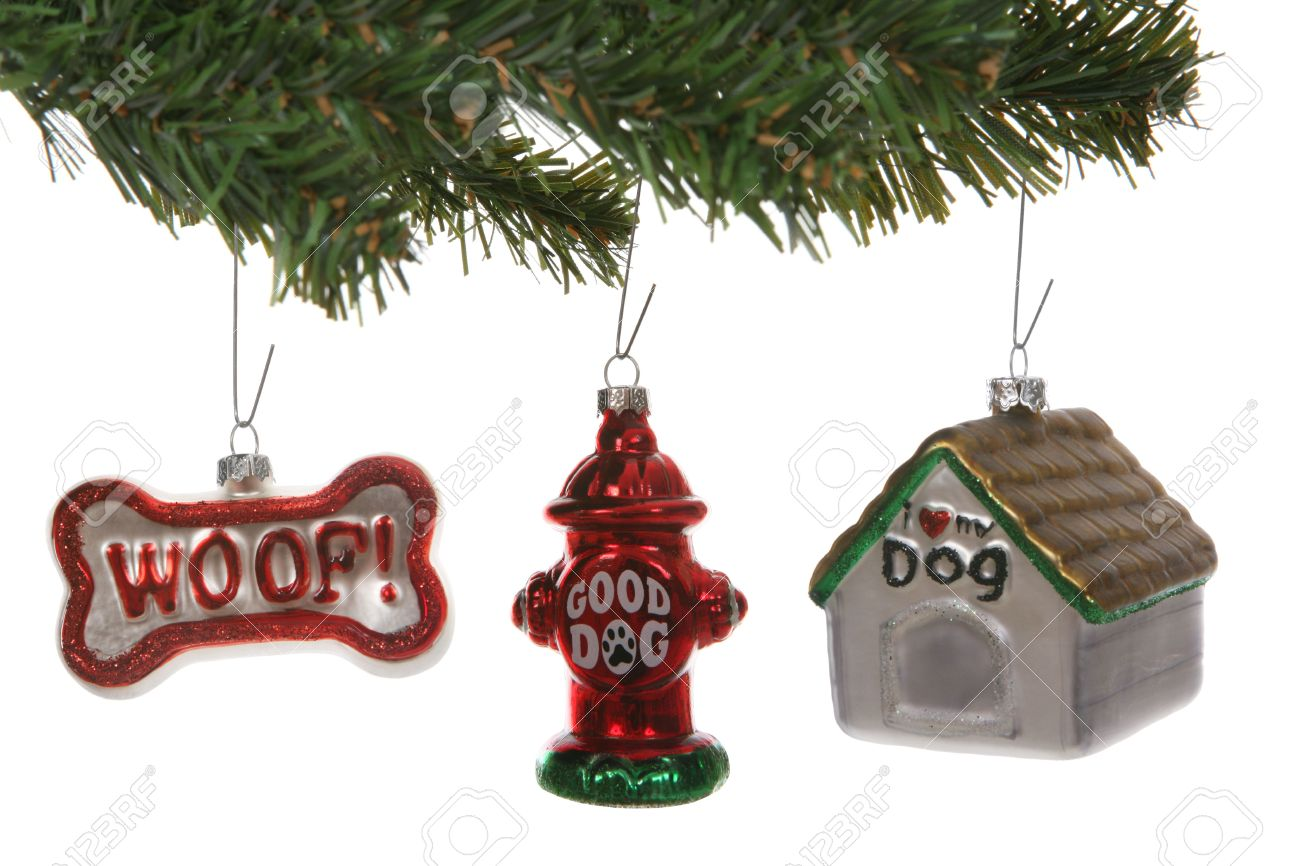 Dog Themed Christmas Ornaments On A Tree Over White Stock Photo ...
