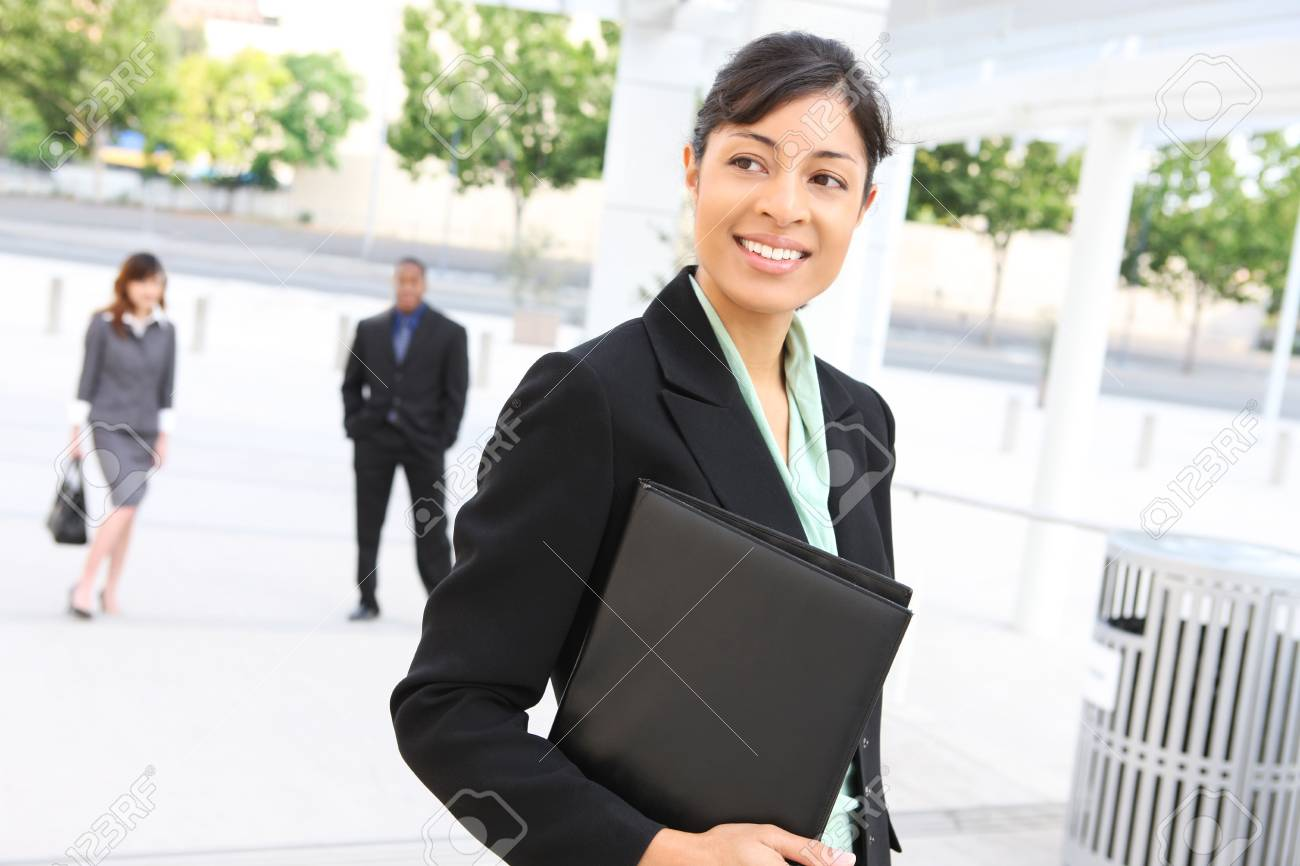 A pretty african american business woman at her office building Stock Photo - 3345351