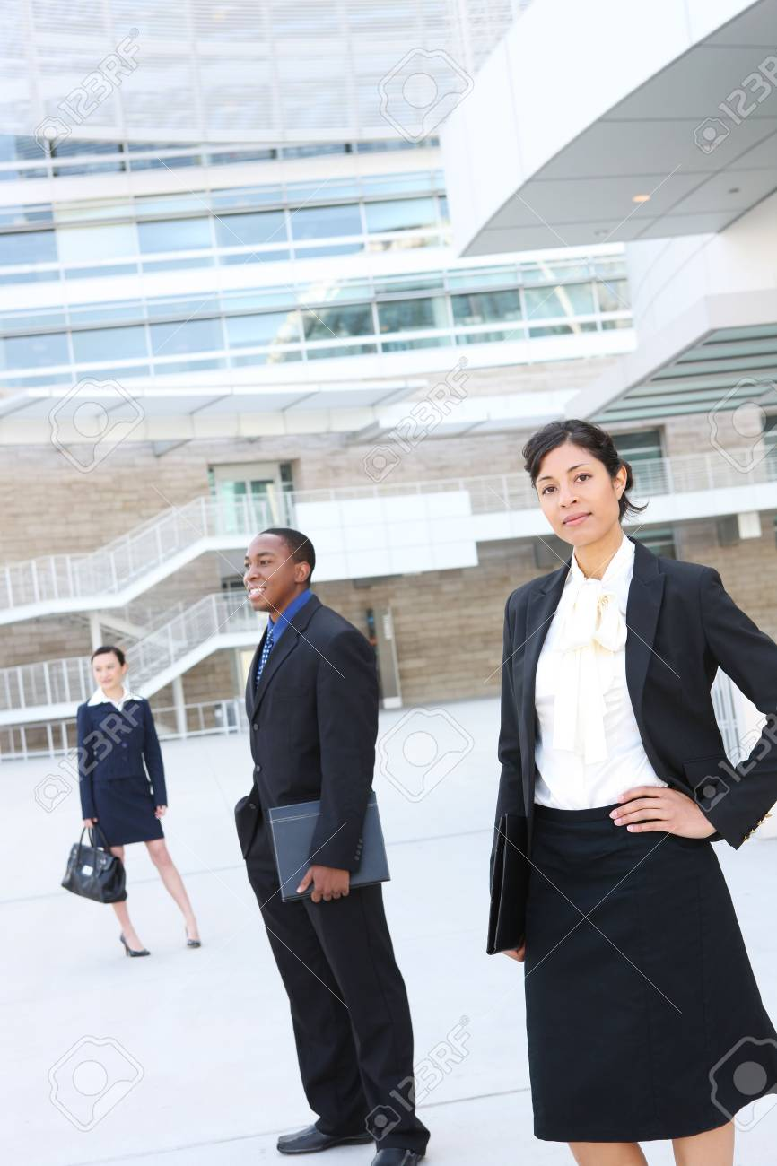 A pretty african american business woman at her office building Stock Photo - 3406422