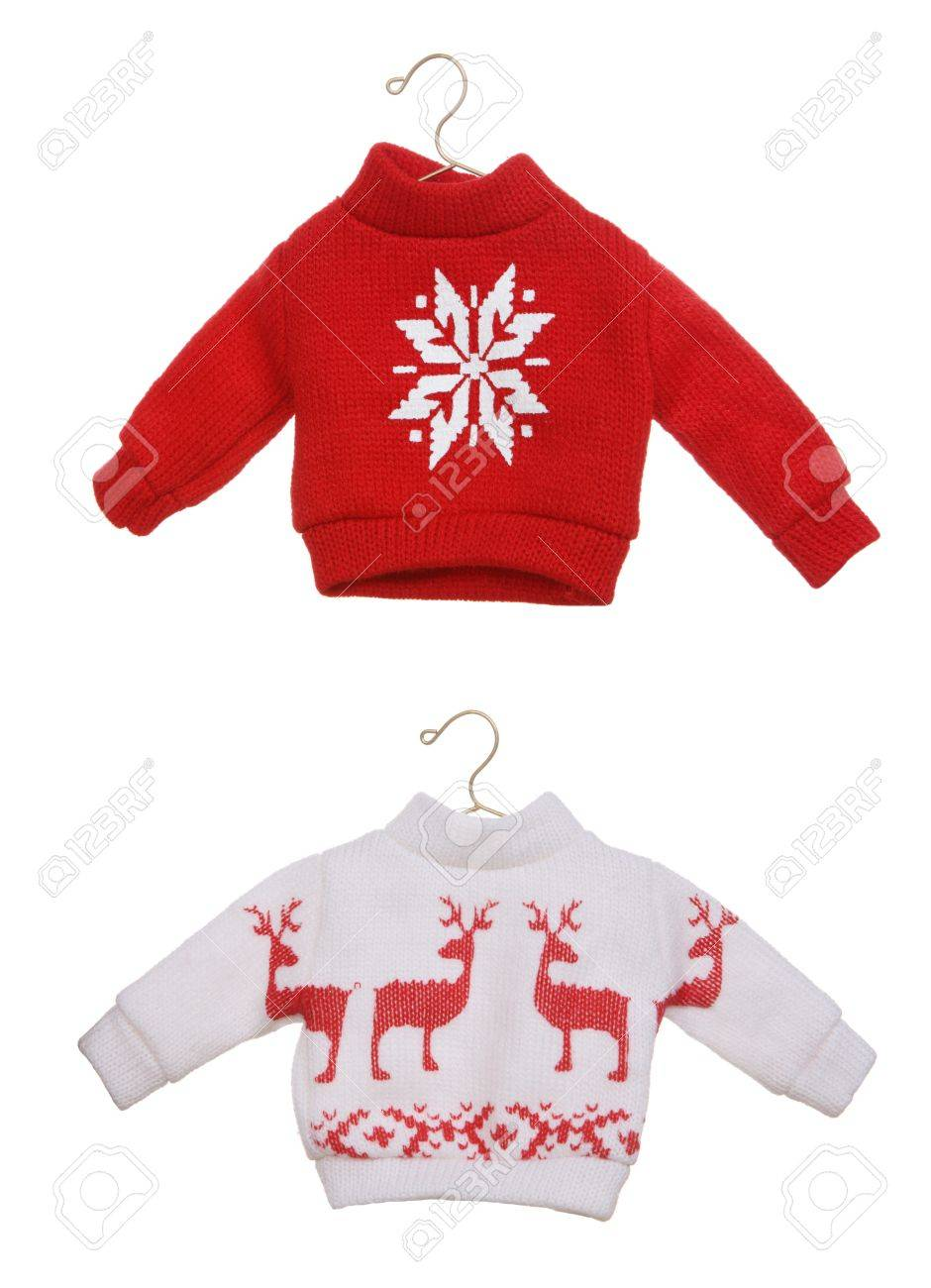 Christmas Sweaters Cute.Two Cute Christmas Sweaters Isolated Over White