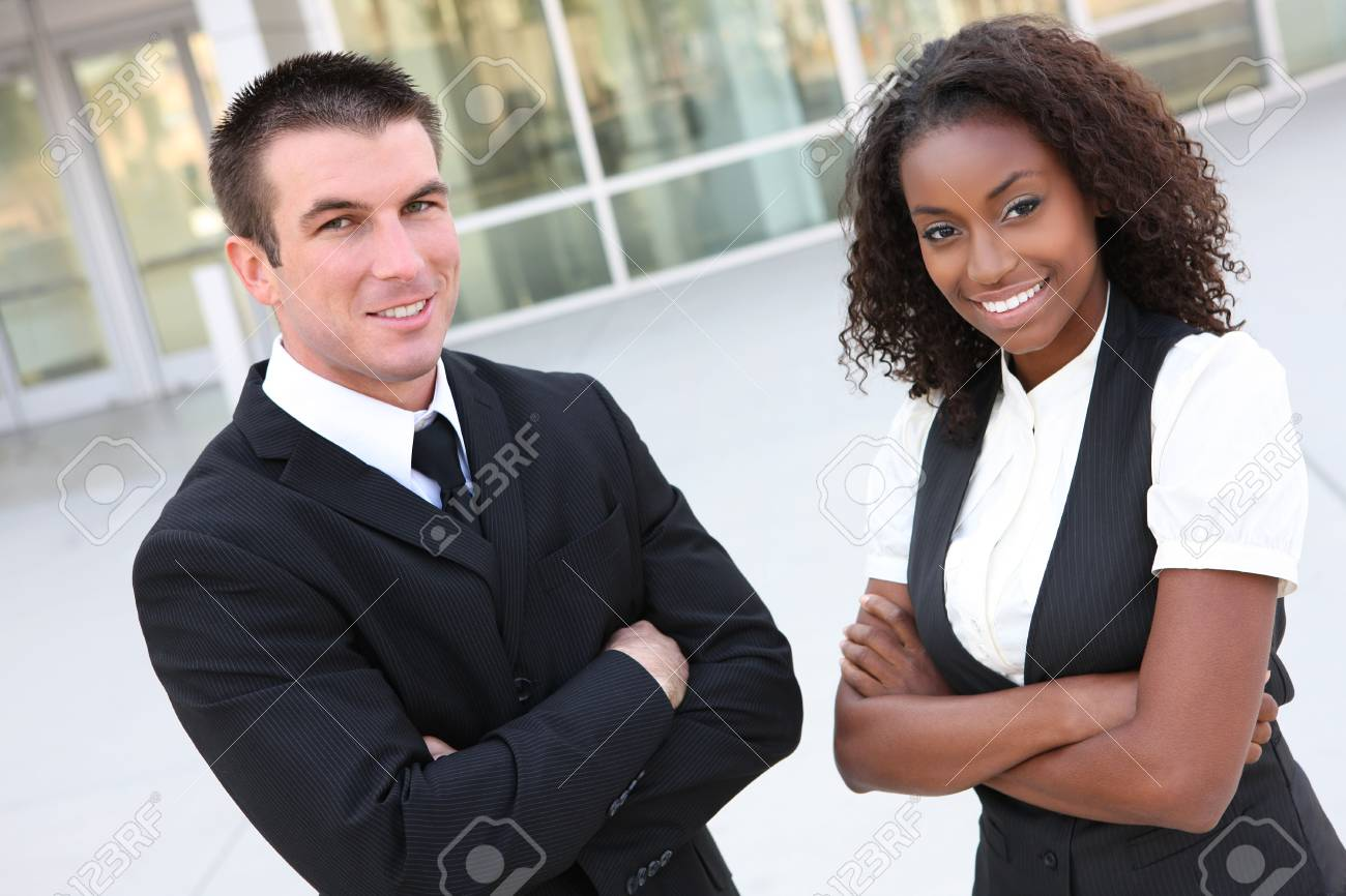 A diverse african and caucasian man and woman business team Stock Photo - 5395210