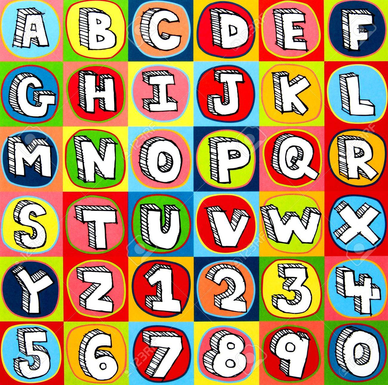 Colorful alphabet letters and numbers background squares Stock Photo - 7904965