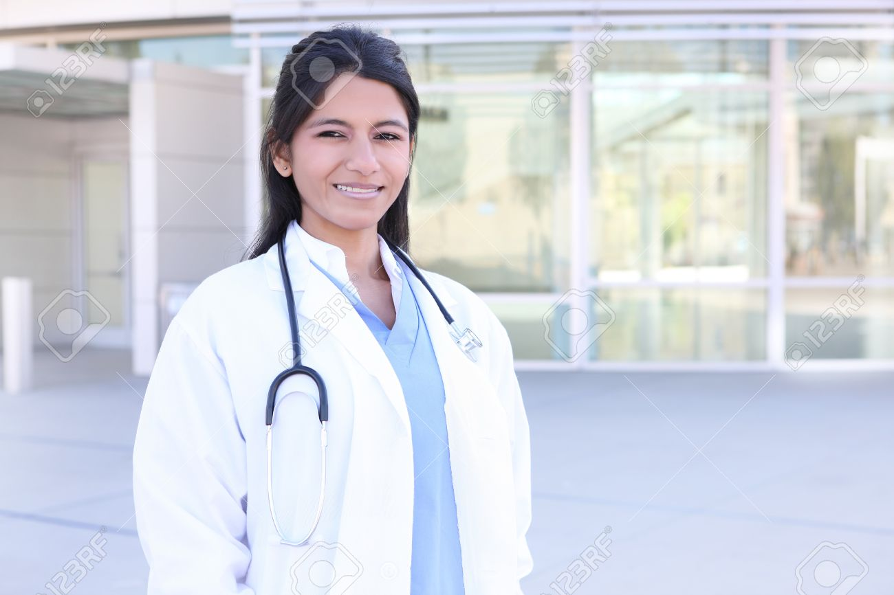 An Indian medical woman nurse outside hospital Stock Photo - 8040551