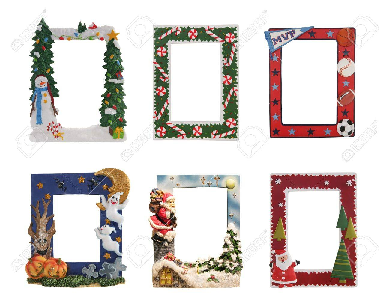 christmas halloween and sports colorful picture frames stock photo 9282160