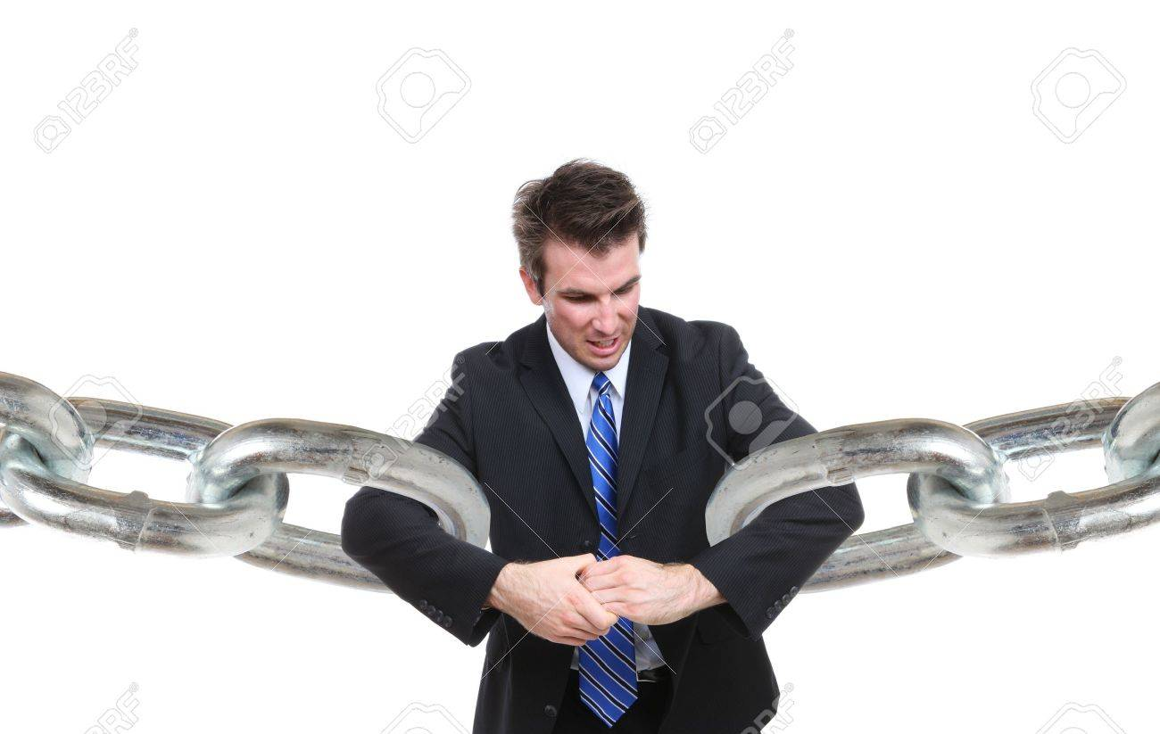 A business man struggling to make a connection with chain links Stock Photo - 9551019