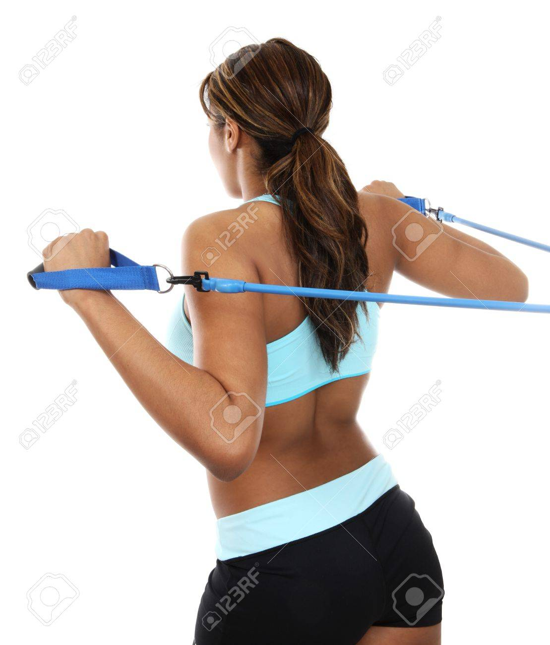 An African american woman exercising from behind Stock Photo - 10465545