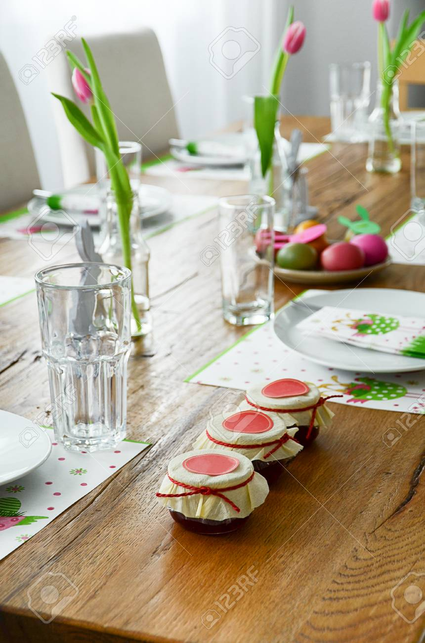 Festive Dinner Table Set For Easter Brunch Decorated In Green ...