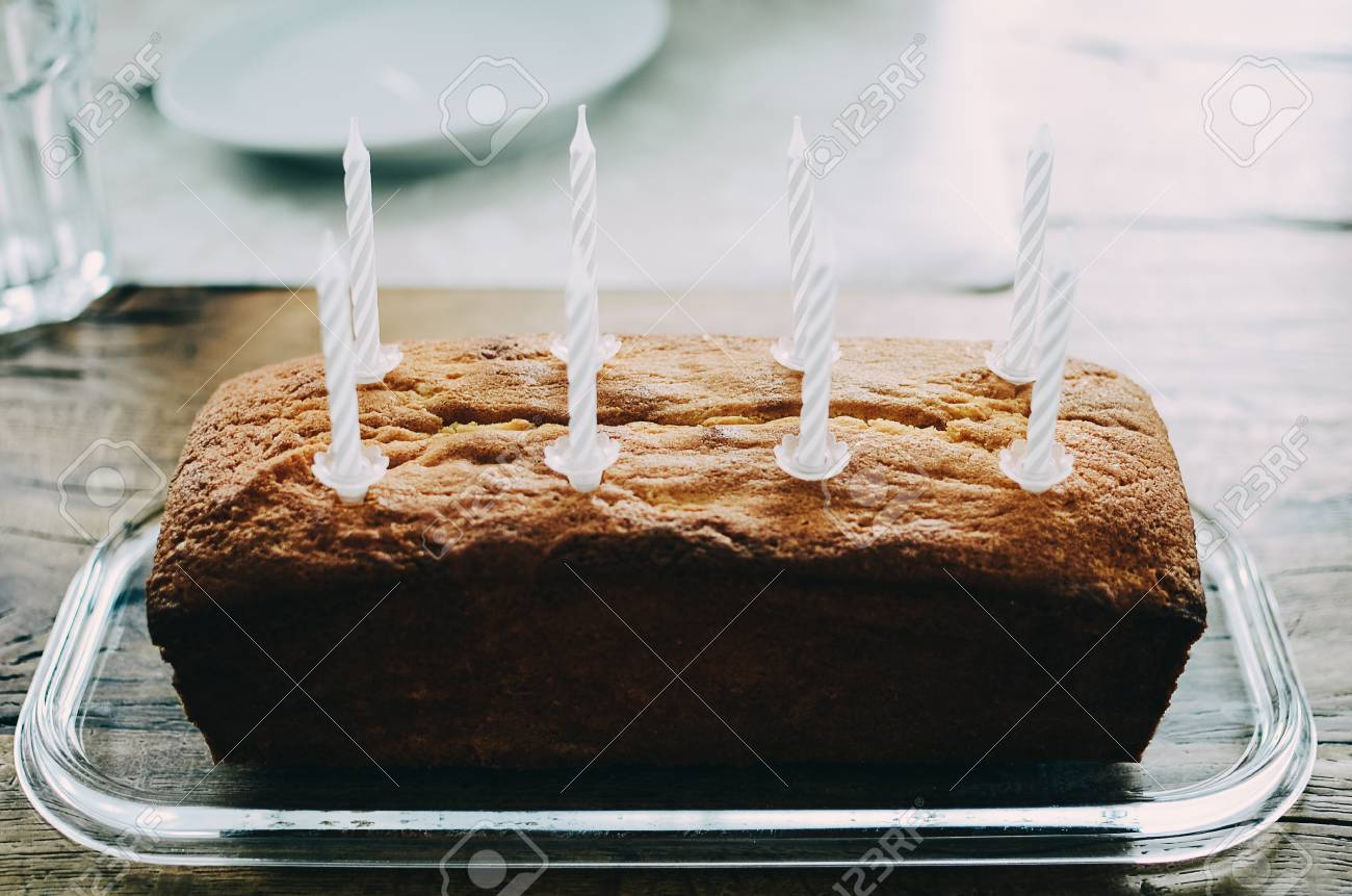 Excellent Simple Birthday Pound Cake With Eight White Cake Candles Glass Funny Birthday Cards Online Elaedamsfinfo