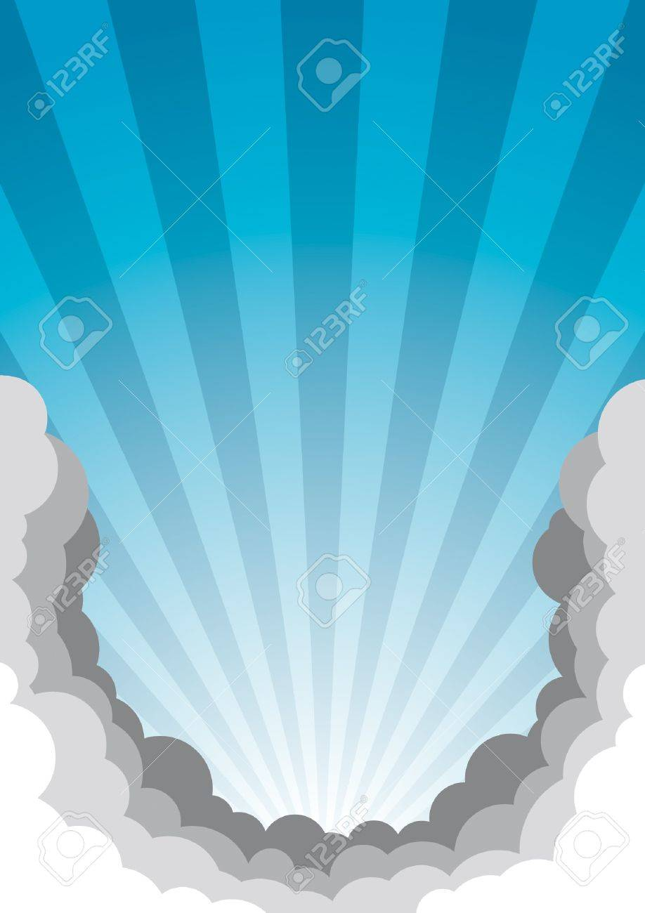 Poster template with sky and clouds. All elements are neatly on their own layers. Stock Vector - 10994449