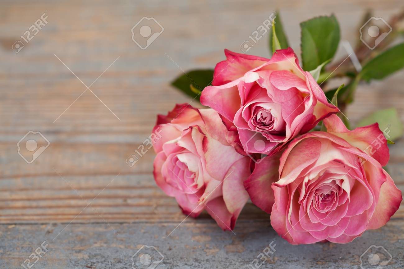 Pink roses on wooden background Stock Photo - 17540894