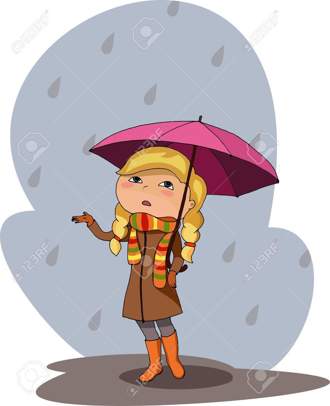 Ilustración Vectorial De Una Niña Menor De Paraguas Morado Gris Día ...