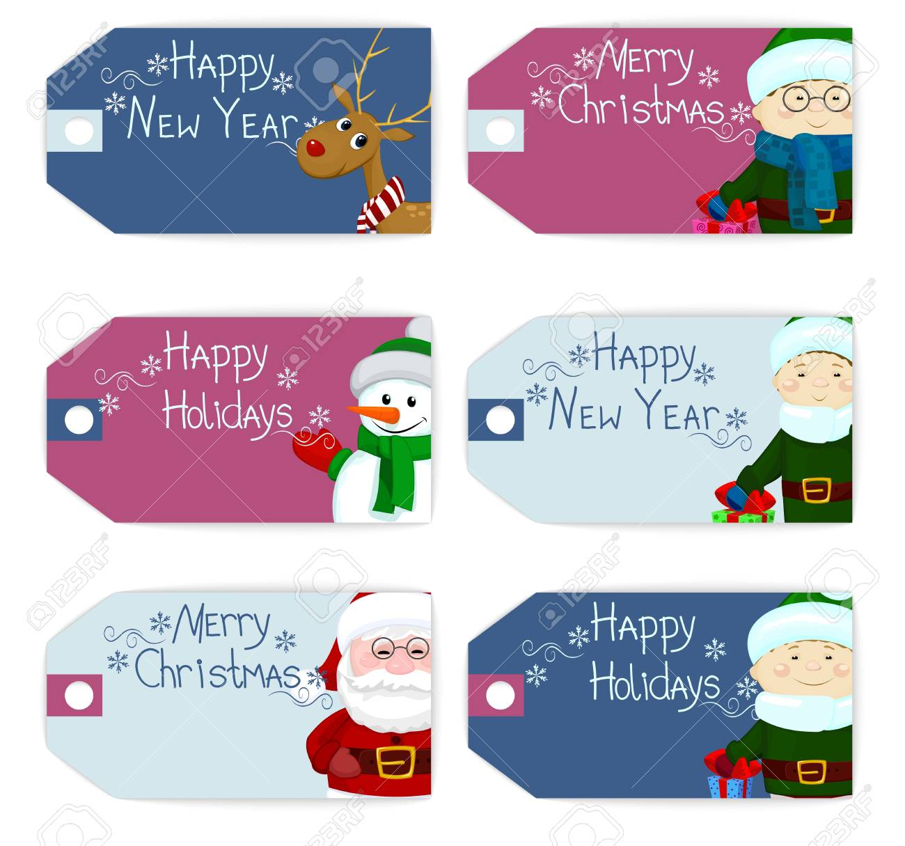 set of christmas new year labels tag card deer snowman santa stock vector 64573813