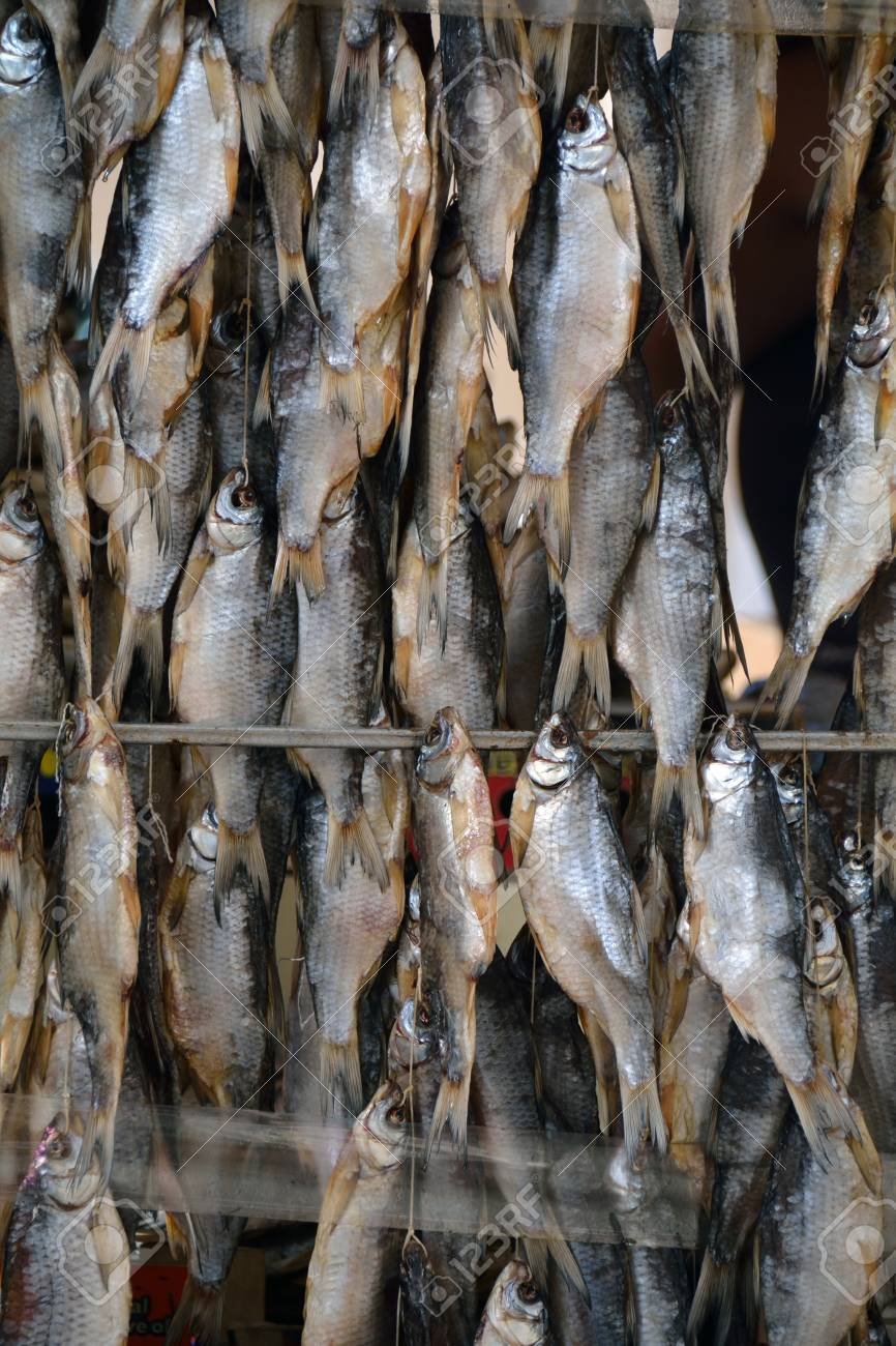 Dried Fish On The Rods For Sale Stock Photo, Picture And Royalty ...