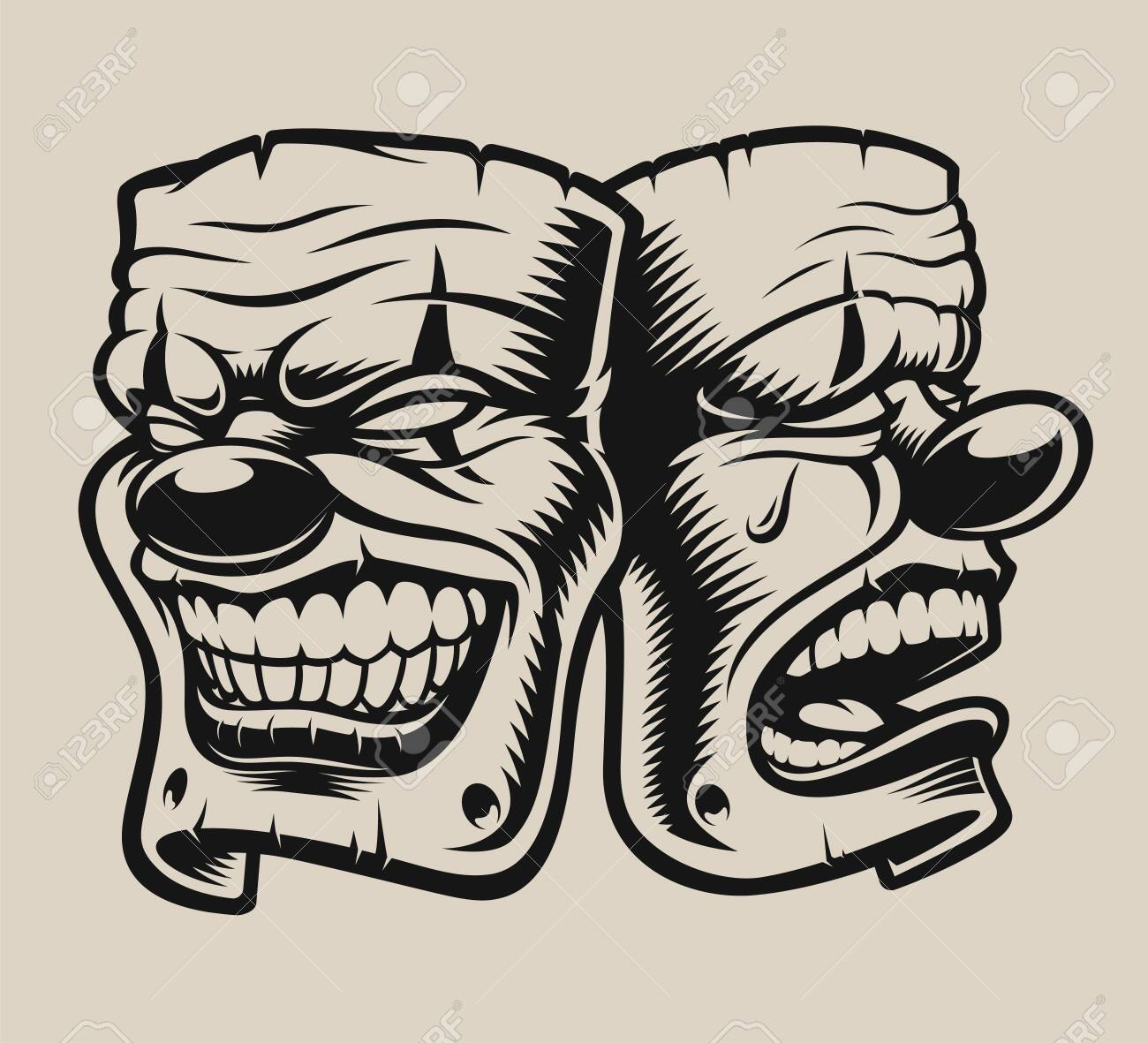 Vector Illustration Of Masks In Chicano Tattoo Style Royalty Free Cliparts Vectors And Stock Illustration Image 139945793
