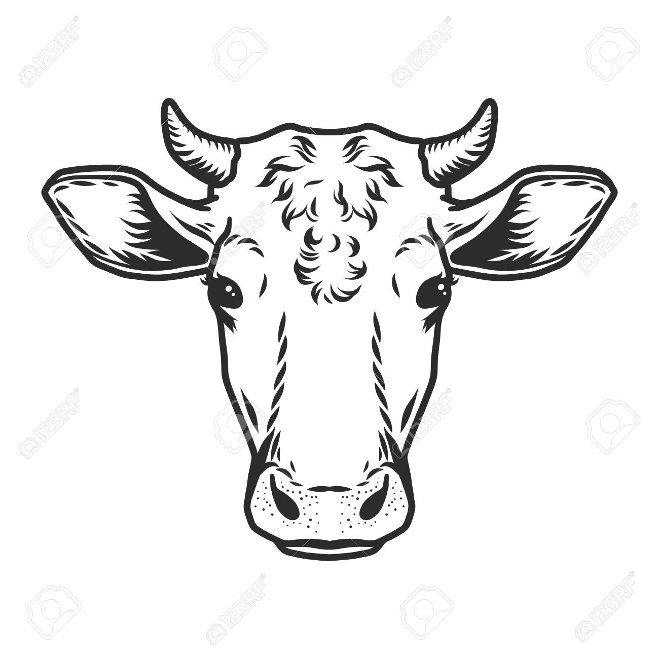 Cow head icon. Outline nand drawn illustration of cow head vector icon for web - 107513411