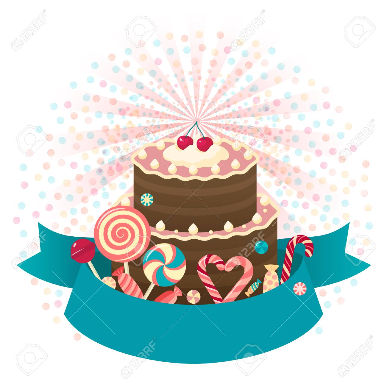 Happy Birthday Cake Background With Place For Text Any Design Standard Bild