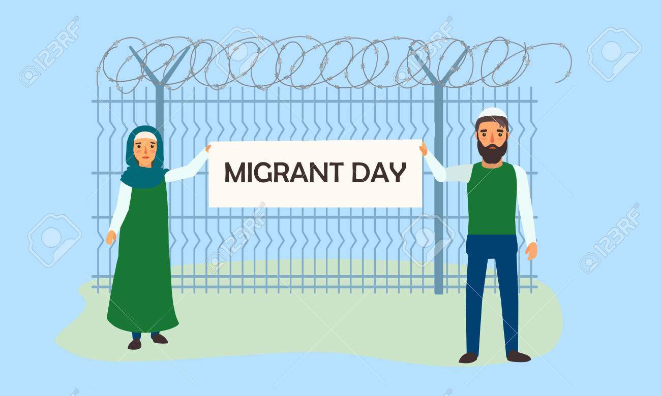 Migrant day concept banner. Flat illustration of migrant day vector concept banner for web design - 113455986