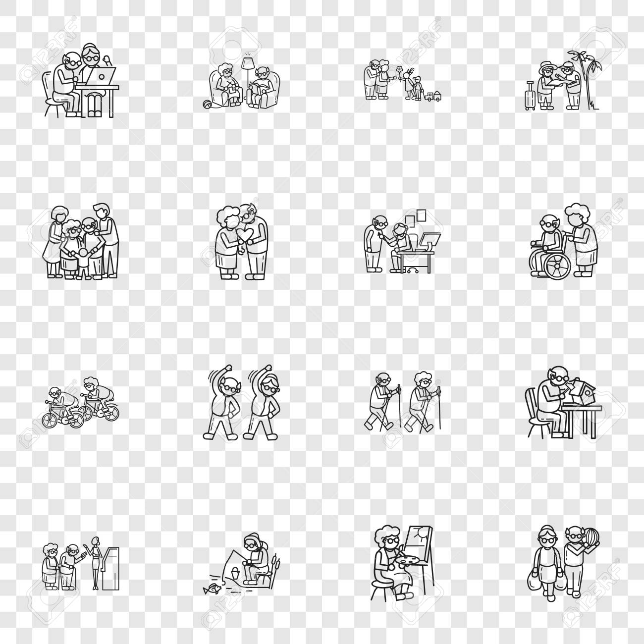 Older persons icon set. Simple set of older persons vector icons for web design - 126761471