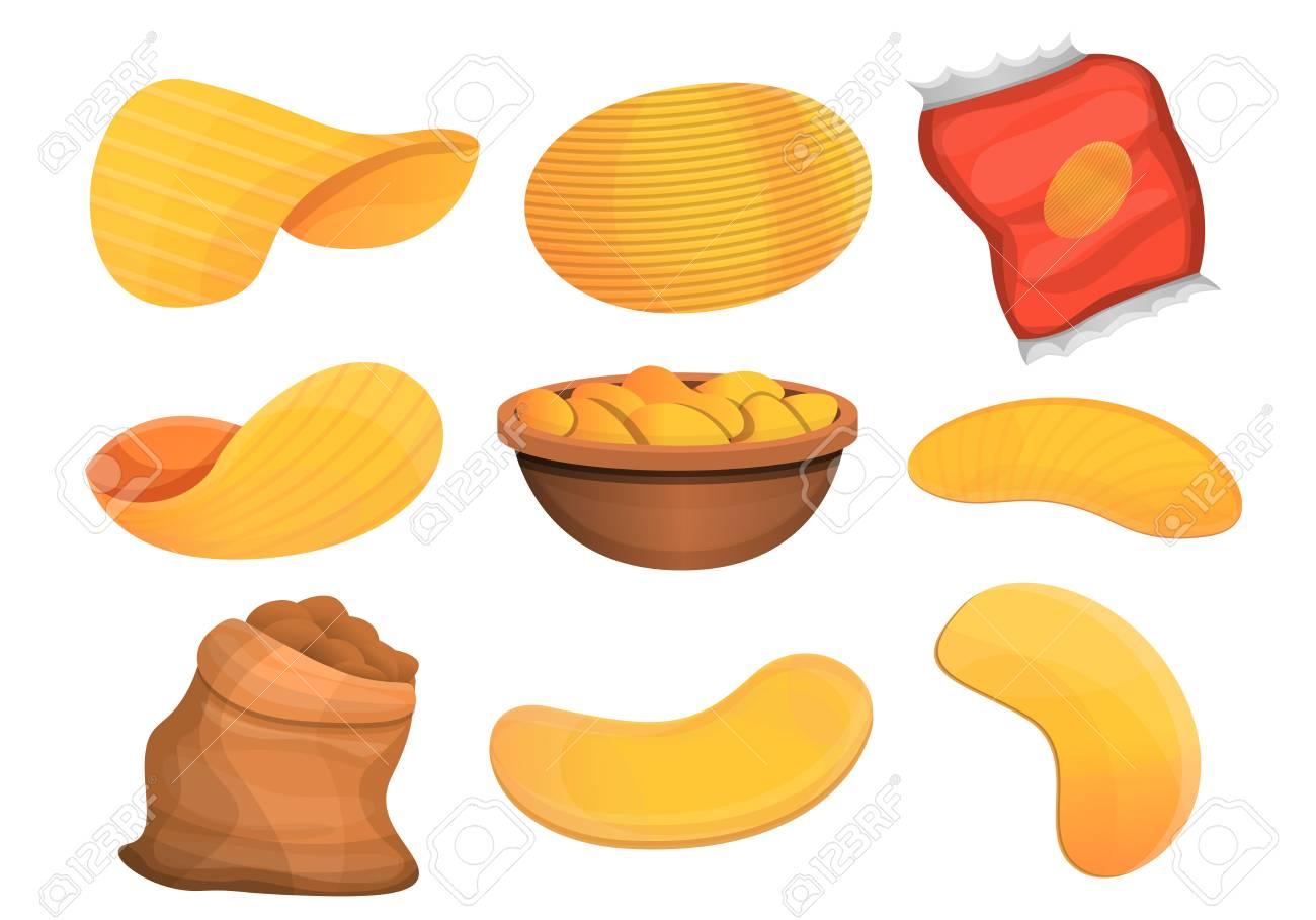 Chips potato icon set. Cartoon set of chips potato vector icons for web design - 126449904