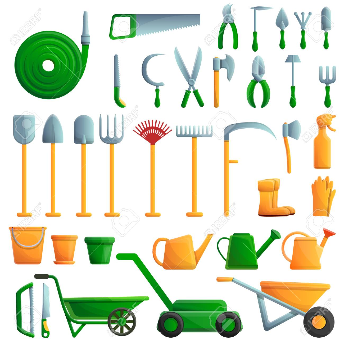 Gardening Tools Icons Set Cartoon Set Of Gardening Tools Vector Royalty Free Cliparts Vectors And Stock Illustration Image 125312687