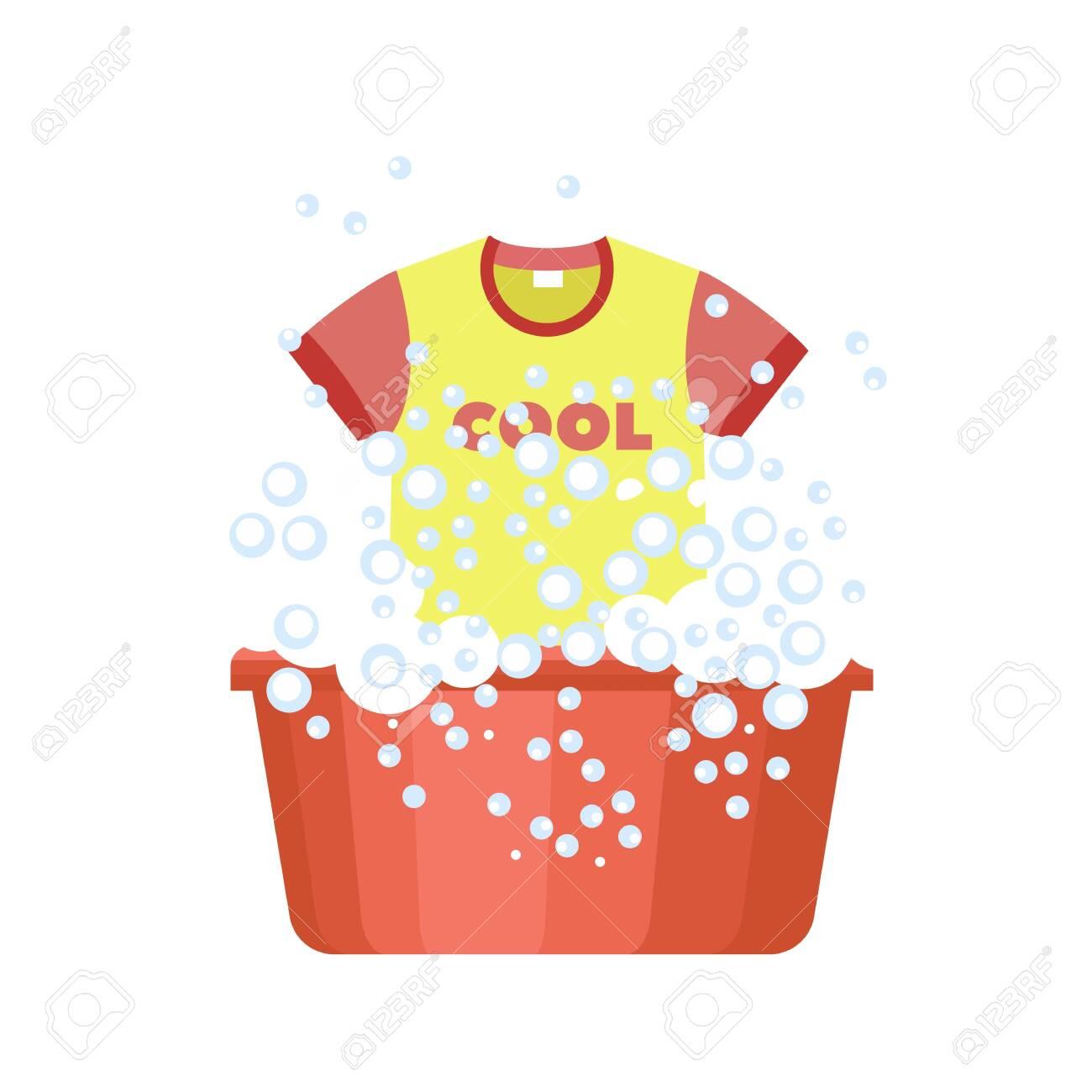 Tshirt wash plastic basin icon. Flat illustration of tshirt wash plastic basin vector icon for web design - 124444041