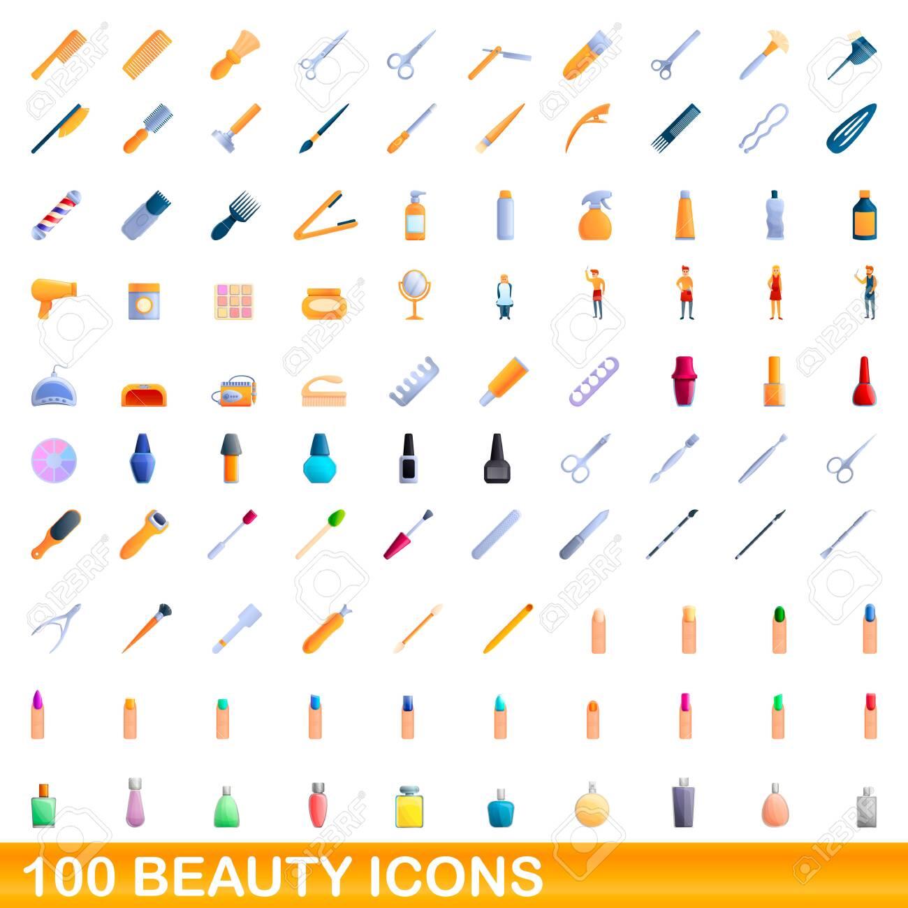 100 beauty icons set. Cartoon illustration of 100 beauty icons vector set isolated on white background - 144569094