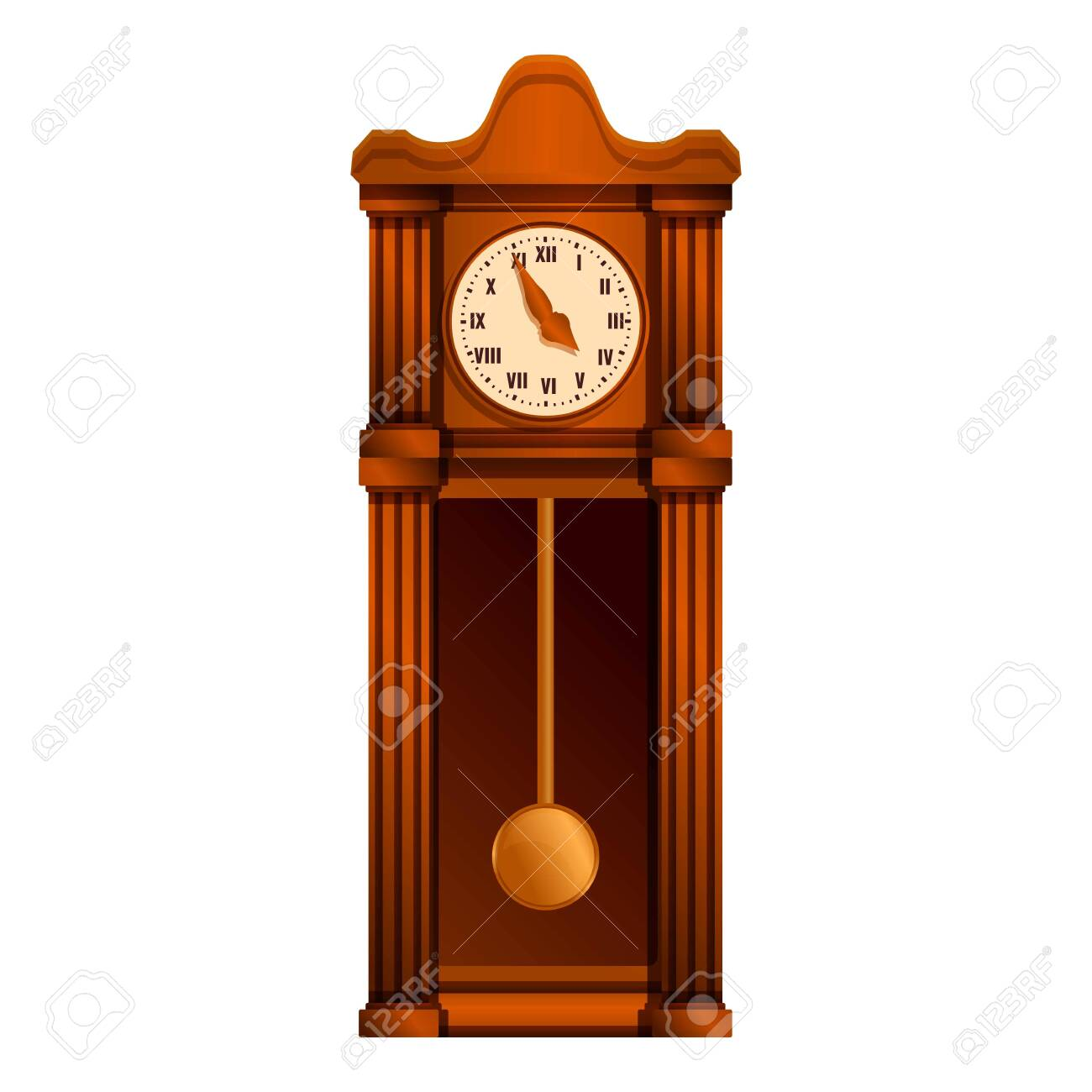 Ancient pendulum clock icon. Cartoon of ancient pendulum clock vector icon for web design isolated on white background - 147323907
