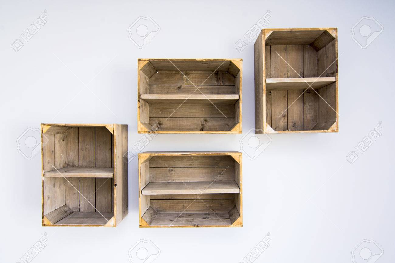 Contemporary Shelves Made Of Wooden Vegetable Boxes Trendy Hipster  # Meuble Tv Ypster