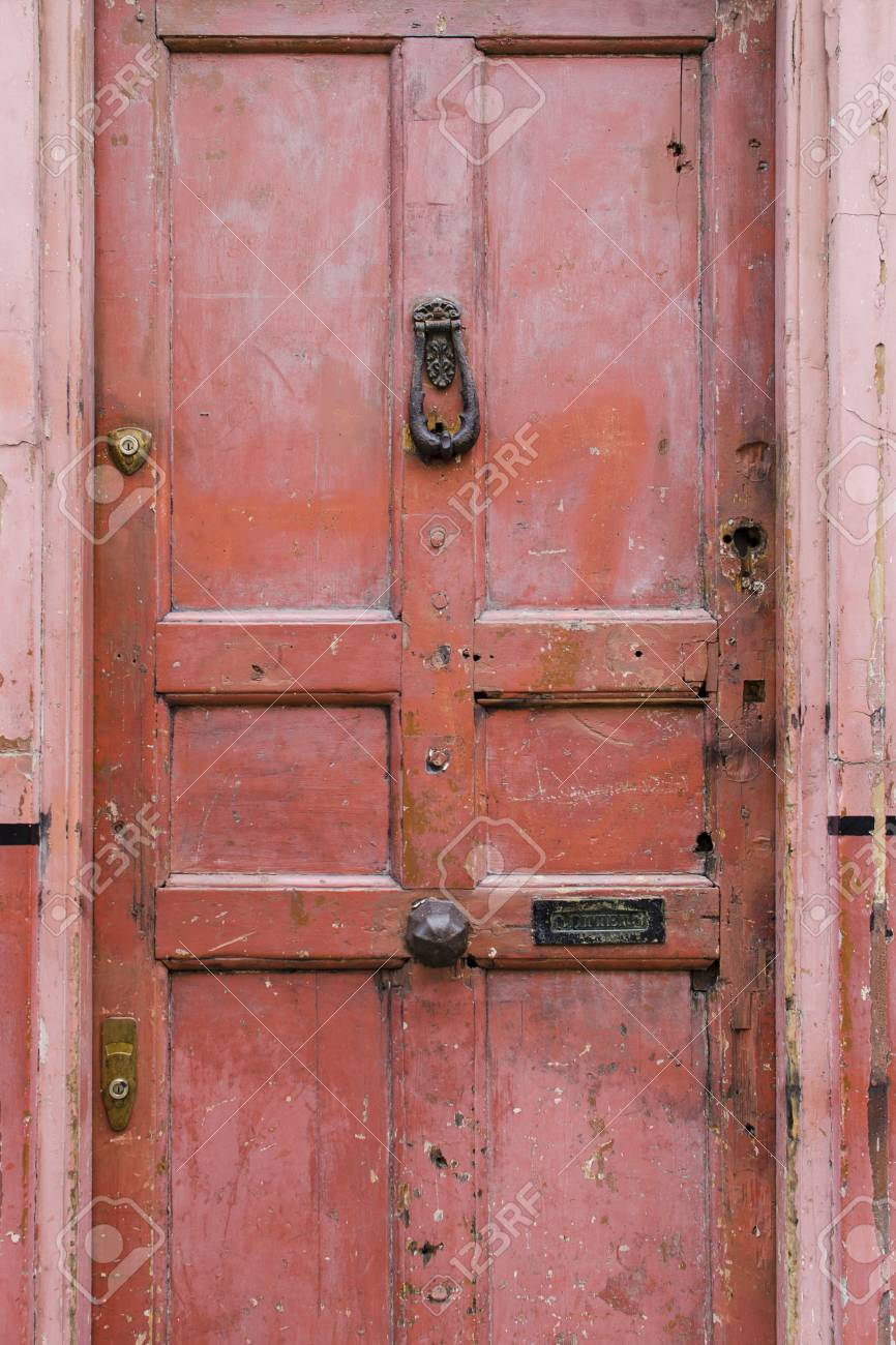 Old Vintage English Style Red Salmon Pink Front Door With Age Stock Photo Picture And Royalty Free Image Image 87007813
