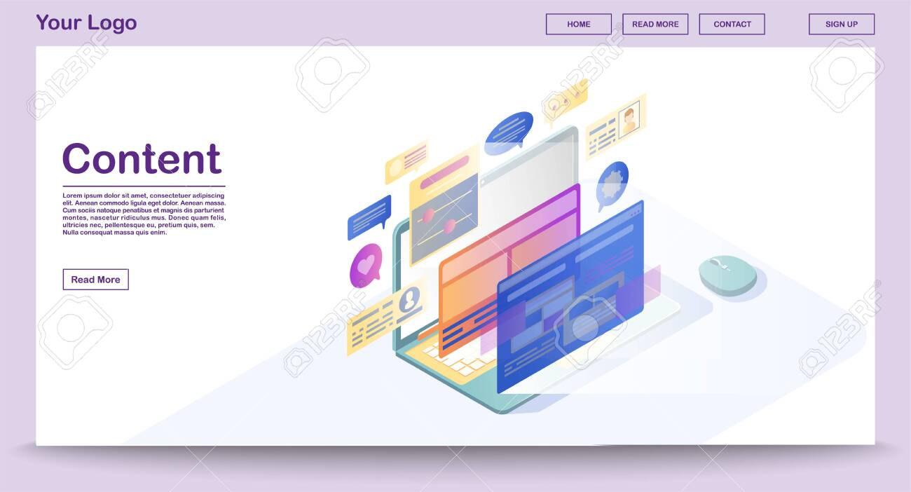 Content Webpage Vector Template With Isometric Illustration Royalty Free Cliparts Vectors And Stock Illustration Image 125567366