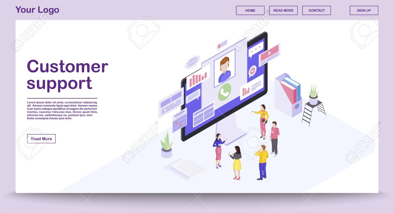 Customer support center webpage vector template with isometric