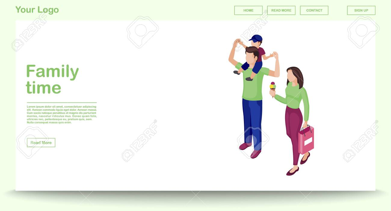 Family time web page vector template with isometric illustration