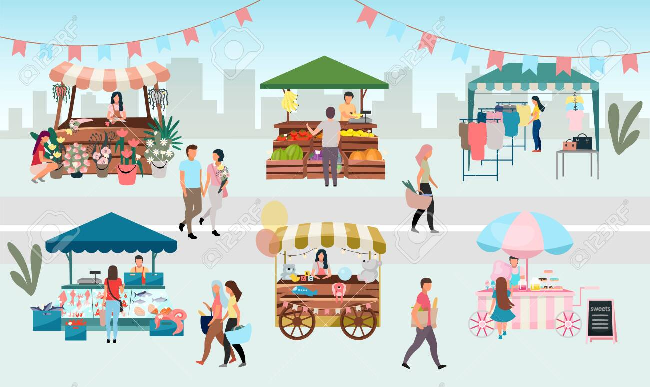 Street fair flat vector illustration. Outdoor market stalls, summer trade tents with sellers and buyers. Flowers, farmers food and products, clothes city kiosks. Local urban shops cartoon concept - 130419048
