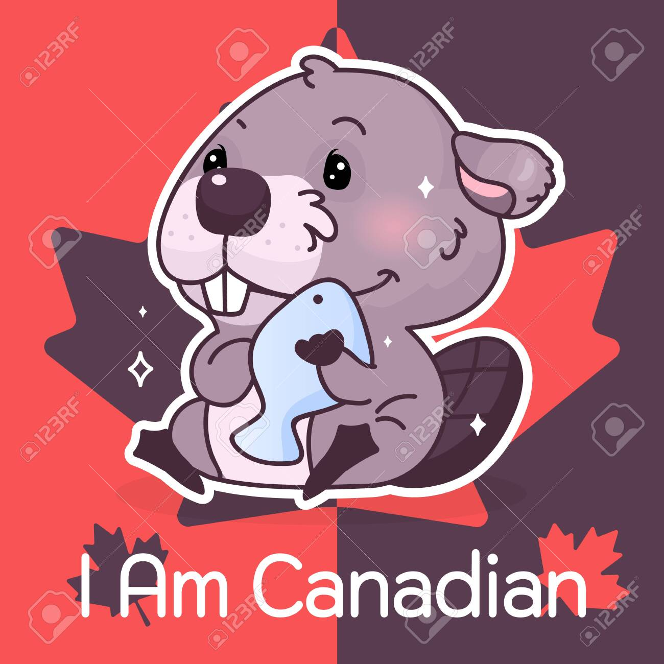 Cute beaver Canada symbol kawaii character social media post mockup. I am canadian typography. Poster, card template with mascot and maple leaves.
