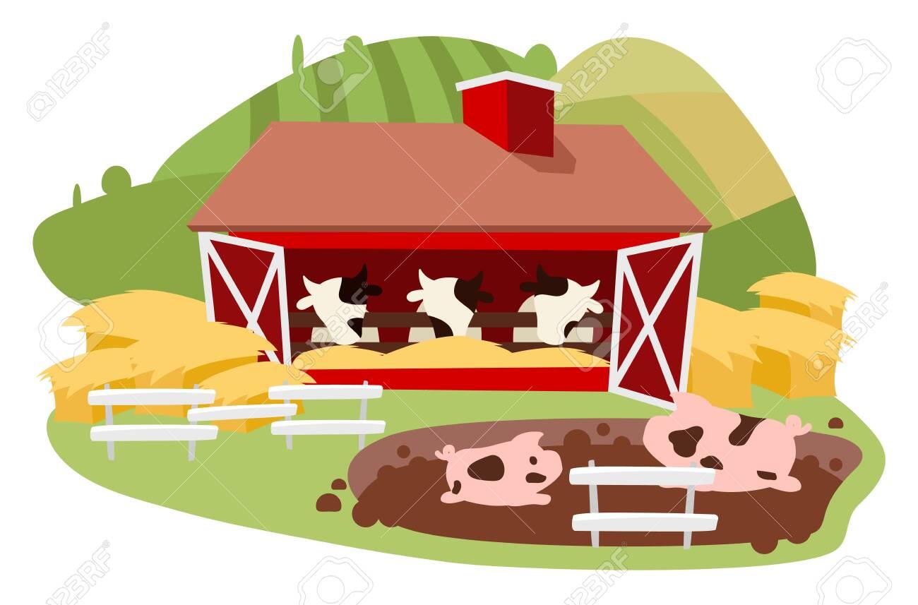 Farm, Animals And Farmer Barn Icon Cartoon Vector Illustration.. Royalty  Free Cliparts, Vectors, And Stock Illustration. Image 129979335.