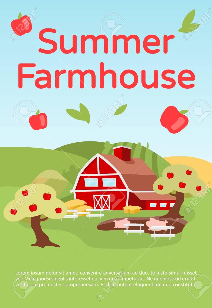 Summer farmhouse brochure template. Countryside farming. Flyer,.. on