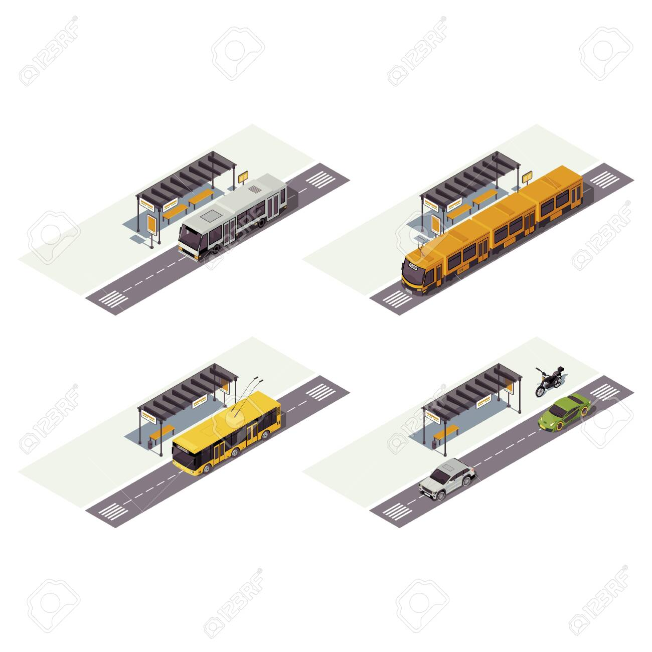 City transport isometric color vector illustration. Public urban transportation infographic. Bus stop. Tram, trolleybus, cars and motorcycle. Auto 3d concept isolated on white background - 130419160
