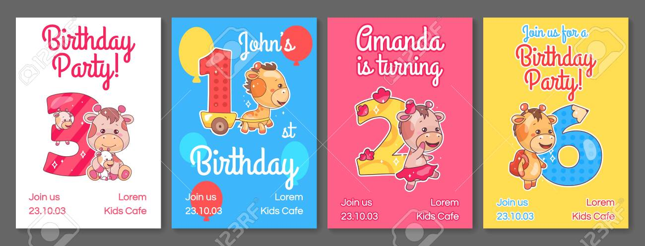 Kids Birthday Party Invitation Card Vector Templates Set Child