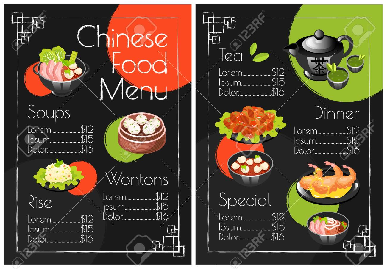 Chinese Food Menu Template Print Design With Cartoon Icons Royalty Free Cliparts Vectors And Stock Illustration Image 133685190