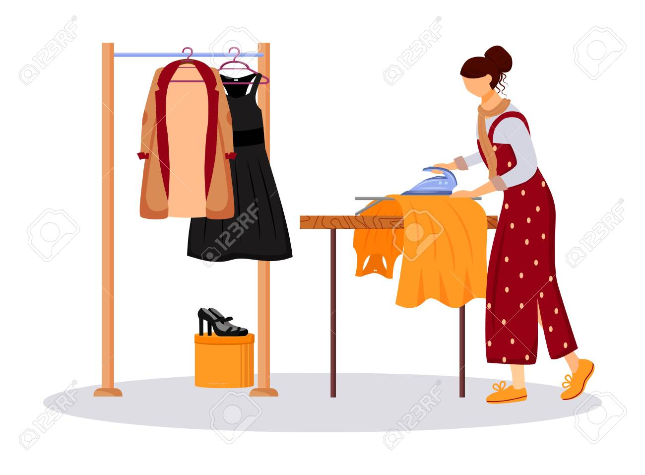 Ironing Dresses Jackets Flat Color Vector Illustration Preparing Royalty Free Cliparts Vectors And Stock Illustration Image 137688122