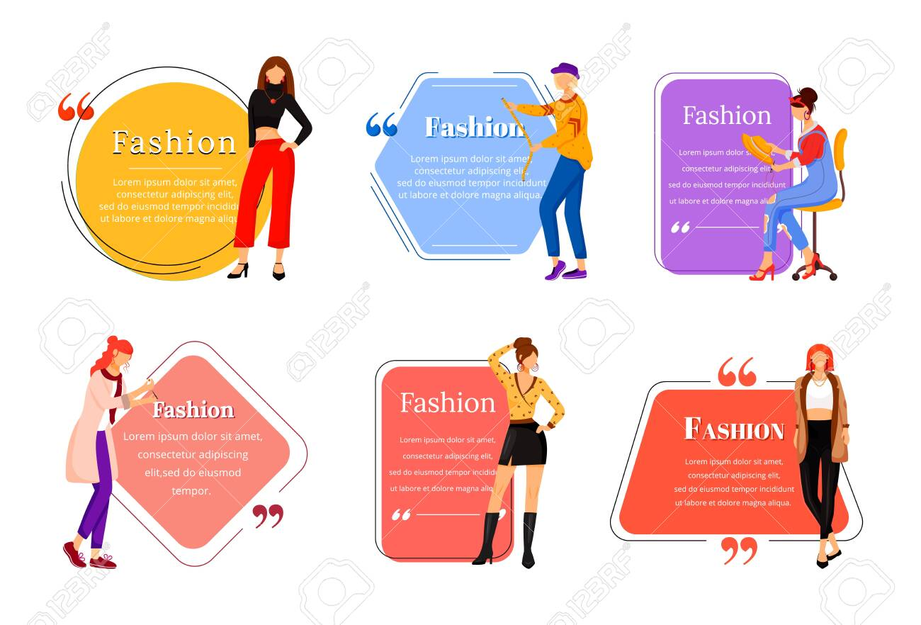 Fashion Designer Flat Color Vector Character Quote Set Individual Royalty Free Cliparts Vectors And Stock Illustration Image 138458063