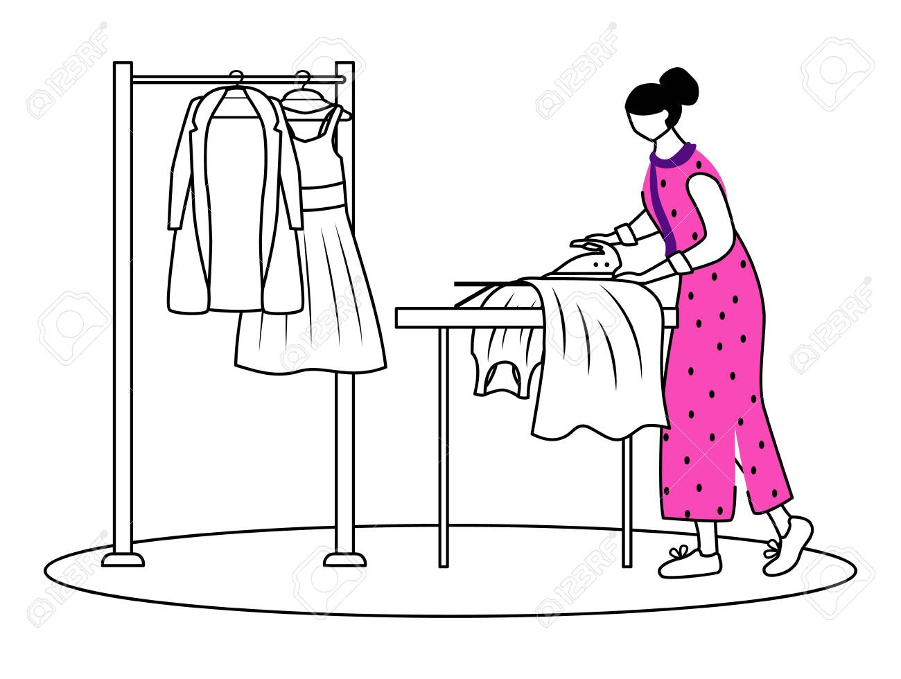 Ironing Dresses Jackets Flat Contour Vector Illustration Preparing Royalty Free Cliparts Vectors And Stock Illustration Image 138456615