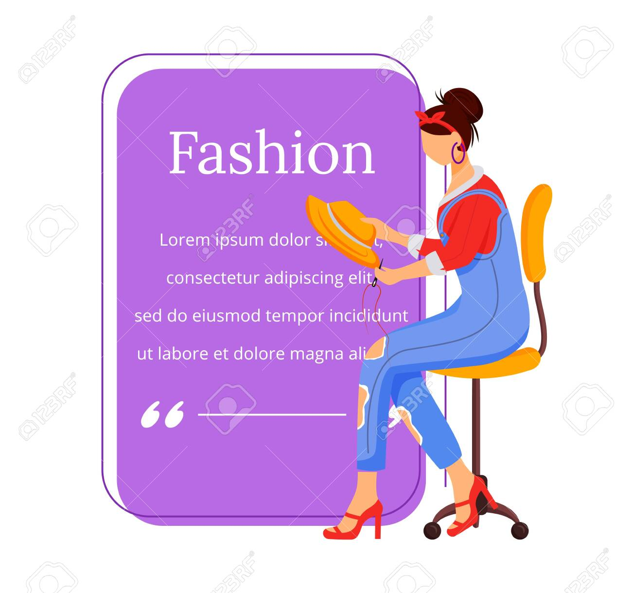 Fashion Designer Flat Color Vector Character Quote Individual Royalty Free Cliparts Vectors And Stock Illustration Image 139089016