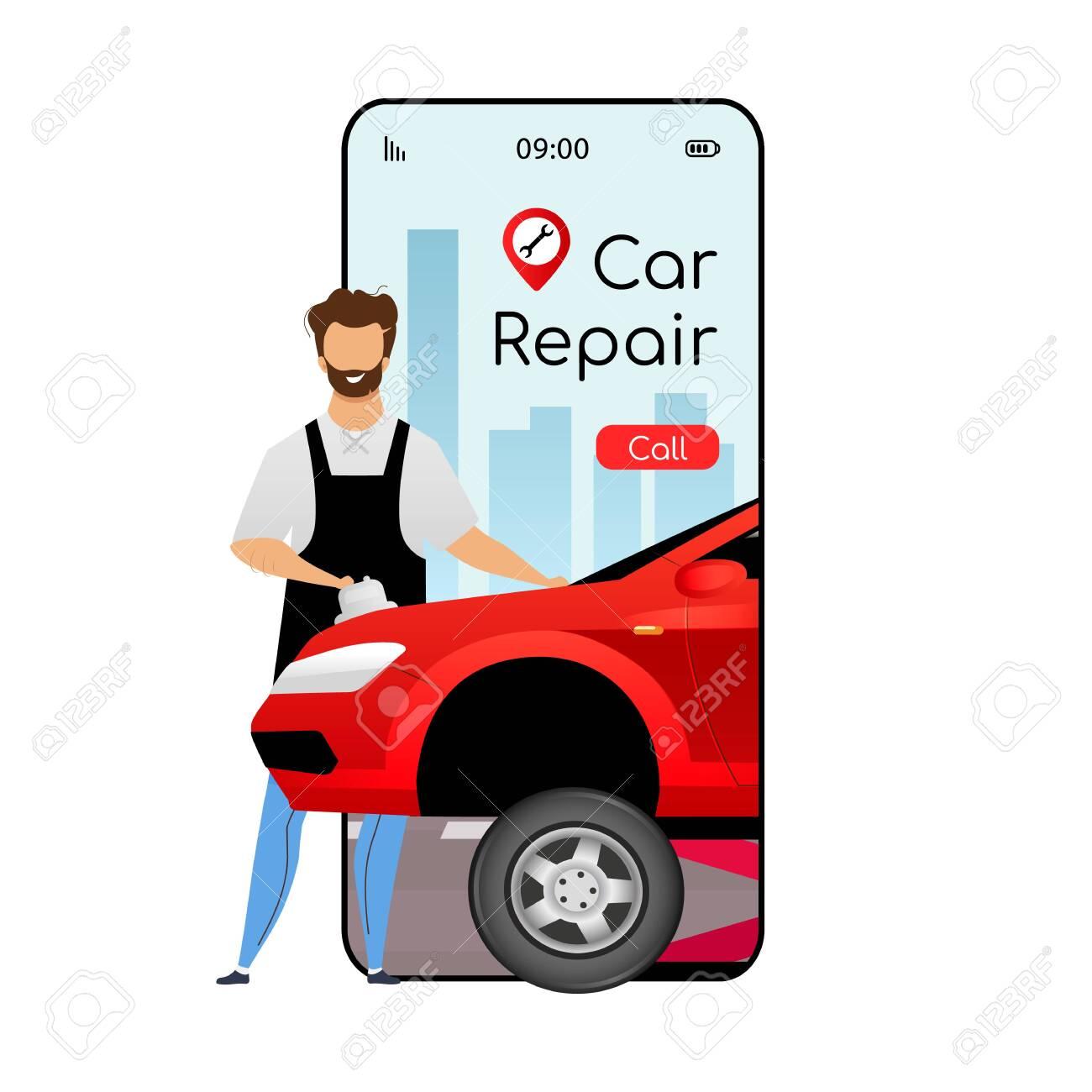 Car Repair Cartoon Smartphone Vector App Screen Mobile Phone Royalty Free Cliparts Vectors And Stock Illustration Image 140891481