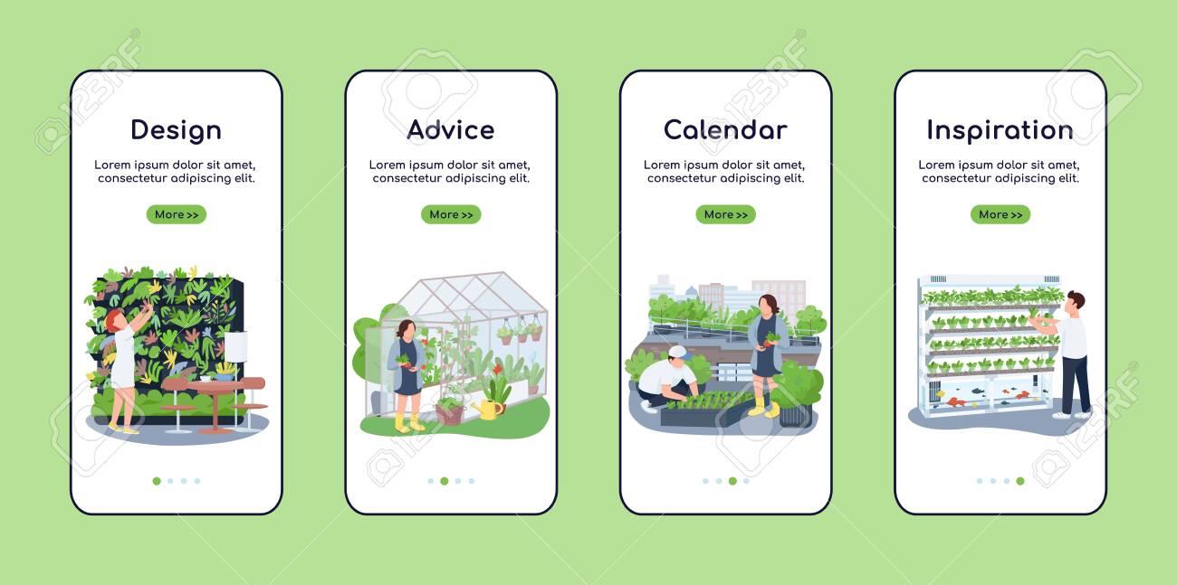 Landscape Design Onboarding Mobile App Screen Flat Vector Template