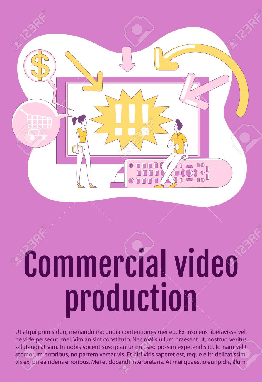 Commercial video production poster flat silhouette vector template. TV advertising brochure, booklet one page concept design with cartoon characters. Content marketing flyer, leaflet with text space - 143571958