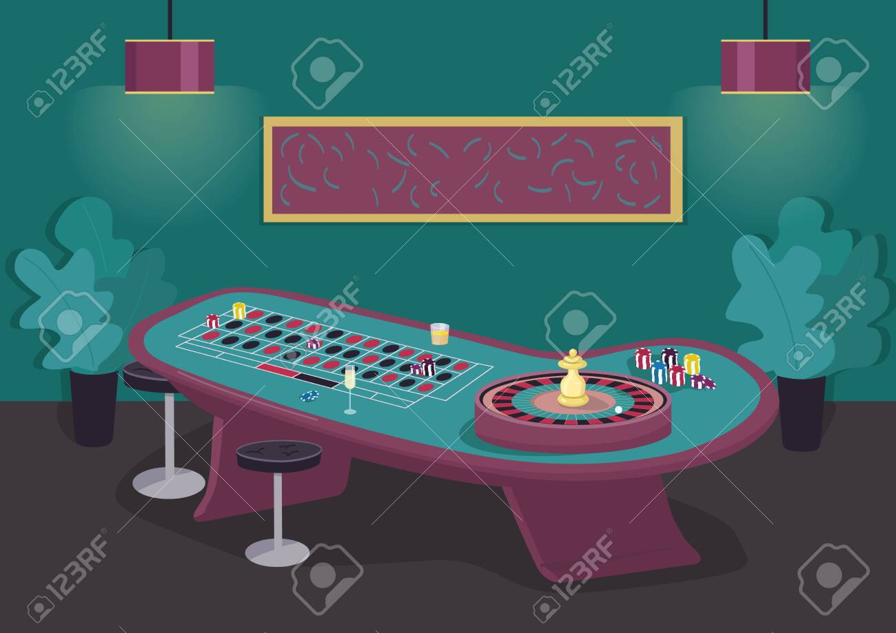 Roulette Table Flat Color Vector Illustration Spin Wheel To