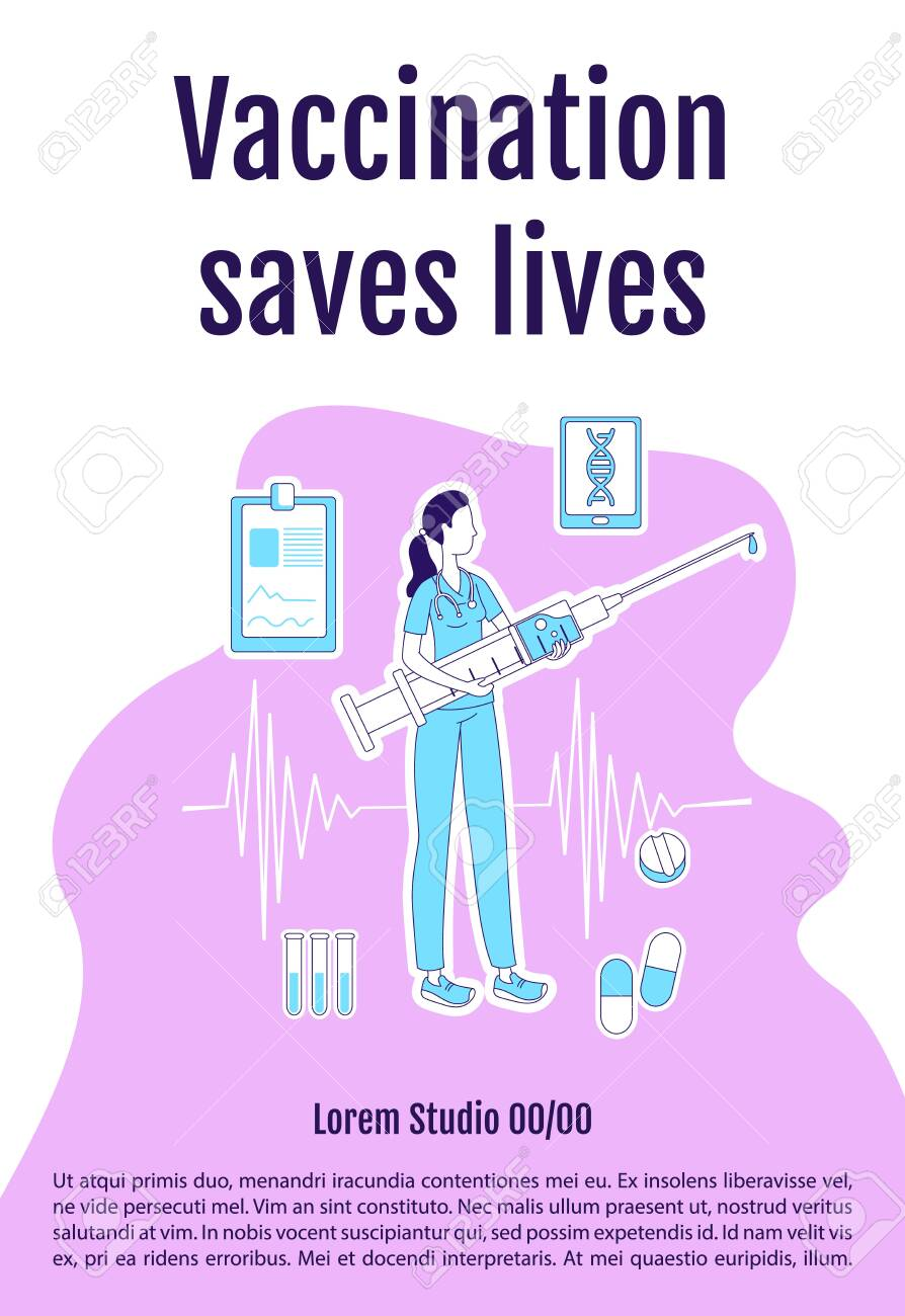 Vaccination saves lives poster flat silhouette vector template. Virus prevention. Brochure, booklet one page concept design with cartoon characters. Medical procedure flyer, leaflet with text space - 144723280