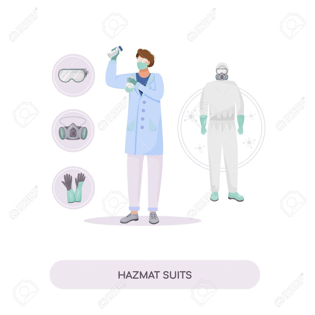 Hazmat suits flat concept vector illustration. Radiation protection, workwear. Chemist in gloves and protective goggles 2D cartoon character for web design. Protective clothing creative idea - 145521231