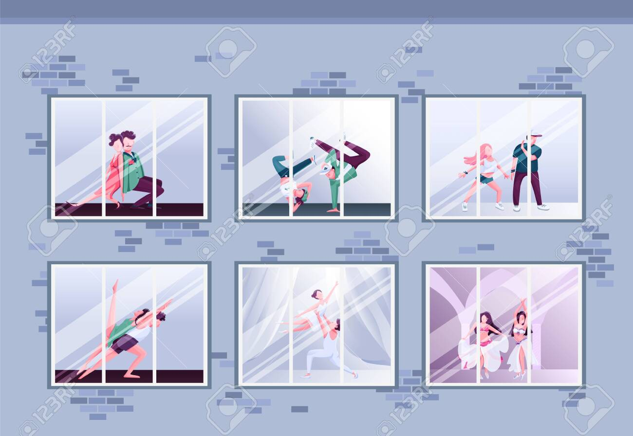 Morning dance class flat color vector illustration. Hip hop and ballet. Group practice. Dancers training in windows. Fun activity 2D cartoon characters inside with interior on background - 146072930